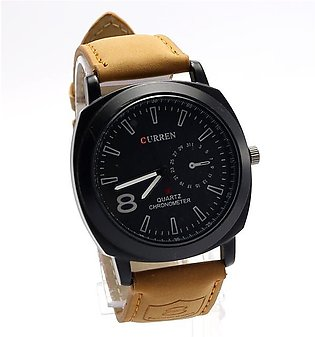 CURREN Black Dial Leather Strap Watch (CW-77)