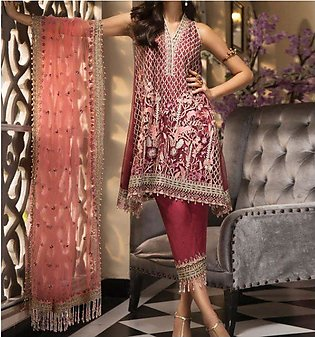 Organza Heavy Embroidered Suit 2019 2020 With Net Embroidered Duppta (CHI-308)