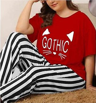 Gothic Red Night Dress Printed T-shirts With Striped Trouser