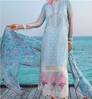 Lawn Chikankari Heavy Embroidered Dress with Chiffon Duppata UnStitched (DRL-...