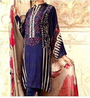 Embroidered Lawn Dress with Chiffon Dupatta UnStitched (DRL-626)