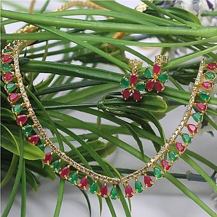 Multi Color Ruby Stone Choker Necklace Set for Women (PS-156)