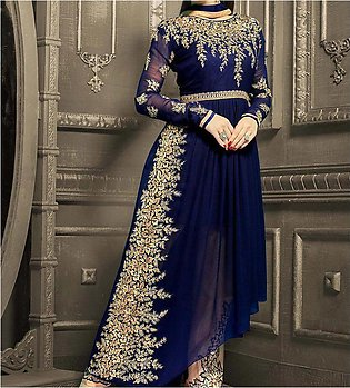 New Indian Embroidered Chiffon Frock (Unstitched) (CHI-33)