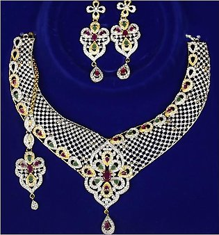 Elegant AD Stone Necklace with Earrings (PS-133)