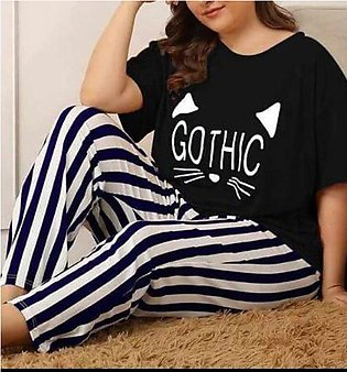 Gothic Black Night Dress Printed T-shirts With Striped Trouser