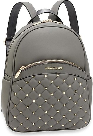 AG00590 – Grey Quilt & Stud Backpack School Bag