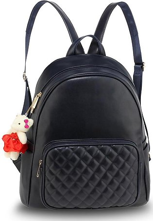 AG00674 – Navy Backpack Rucksack With Bag Charm
