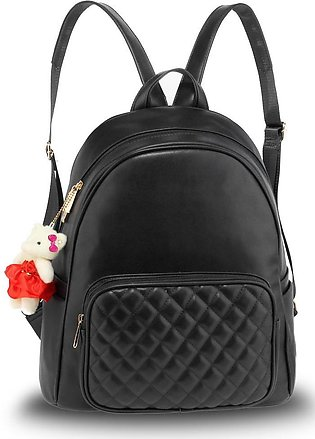 AG00674 – Black Backpack Rucksack With Bag Charm