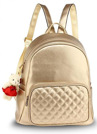 AG00674 – Gold Backpack Rucksack With Bag Charm