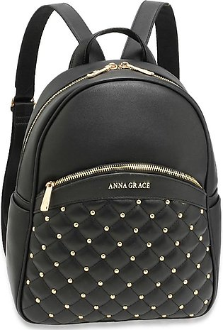 AG00590 – Black Quilt & Stud Backpack School Bag
