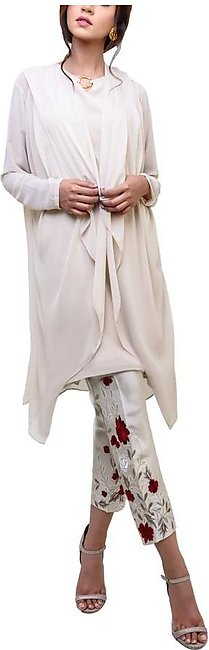Natasha Kamal -  Floretta Georgette Chiffon Jacket & Tunic With Raw Silk Trou...