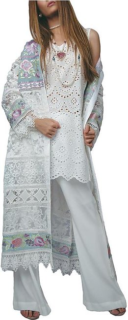 Sanam Chaudhri - White And Blue Lace & Chikan Coat With Chikan Inner Shirt & ...