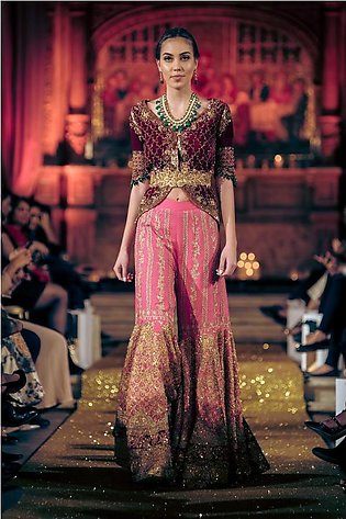Tena Durrani - Red Embellished Velvet Jacket With Choli & Heavily Embellished...