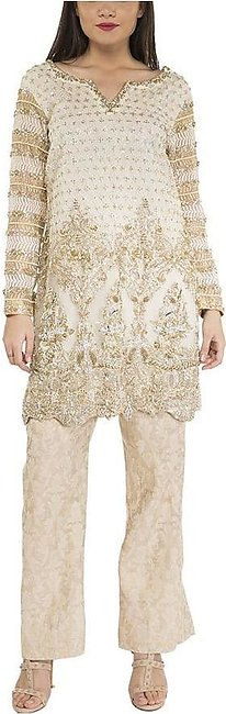 Maheen Ghani Taseer - Net Shirt With Jamawar Pants