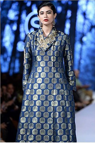 Sanam Chaudhri - OFF THE RUNWAY - Azul Blue Banarsi Hand Worked Long Pea Coat...