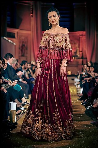 Tena Durrani - Red Velvet Embellished Lehnga With Embellished Cape & Choli