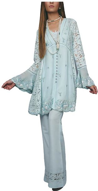 Sanam Chaudhri - Light Blue Handcrafted 'Babydoll' Shirt With A Lace Detailed...
