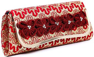 Red Color Fancy Clutch P23063