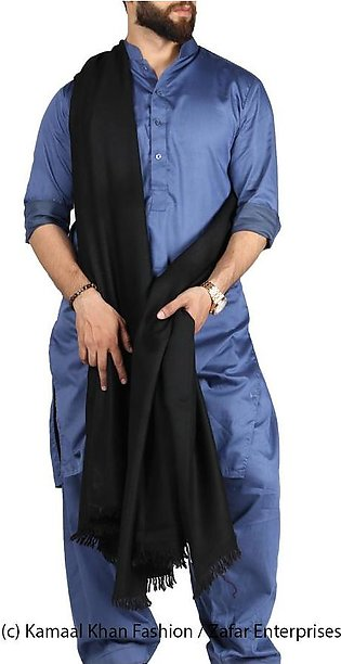 Black Pure Pashmina Kashmiri Shawl For Him SHL-180-2