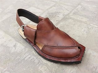 Brown Leather Pure Handmade Norozi Quetta Style Peshawari Chappal KC-43