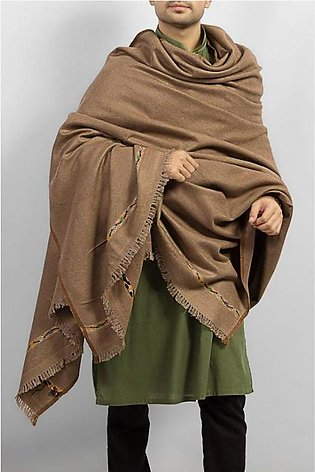 Pure Woolen Brown Color Kashmiri / Pashmina Shawl SHL-025