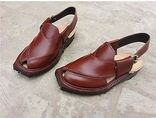 Brown Leather Pure Handmade Norozi Quetta Style Peshawari Chappal KC-41