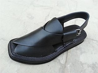 Black Leather Pure Handmade Giyala Pakistani Chappal KC-30