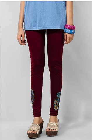 Women's Maroon Viscose Embroidered Tights. MVC-19
