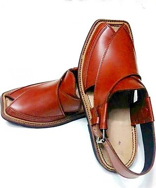 Orange Brown High-Chrome Leather Pure Handmade Peshawari Chappal Chappal KC-24