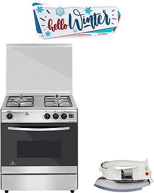 Nasgas Cooking Range EXC-327 3 burner GT + National sole iron