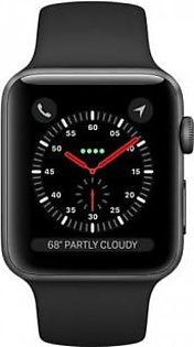 Apple iWatch Series 3 38mm Space Gray Aluminum Case With Black Sport Band - GPS (MQKV2)