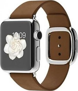 Apple Watch - MJ3A2 38mm Stainless Steel Case with Brown Modern Buckle
