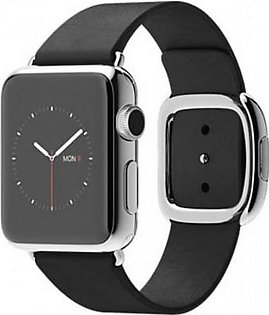 Apple Watch - MJYM2 38mm Stainless Steel Case with Black Modern Buckle