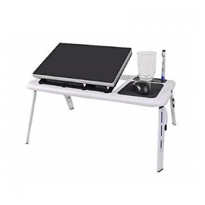 E-table Foldable Laptop Stand Desk with 2 USB Cooling Fans Adjustable Mouse Pad Computer Table