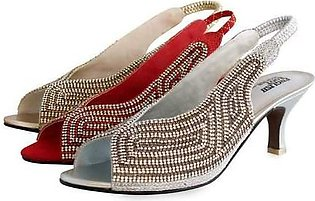 4 Inches Fancy Rain Shine Bedded Bridal Sandal Red,Gold & Silver