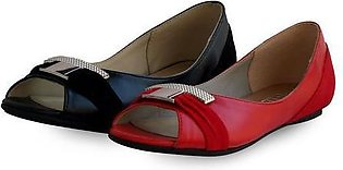 Flat Suede Leather Ladies Shoes Black & Red