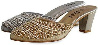 Fancy and Trendy Bridal Slipper Gold & Silver