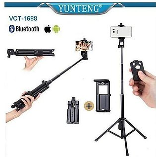Yunteng VCT-1688 2 in 1 Selfi Stick With Built in Tripod and Bluetooth Shutte...