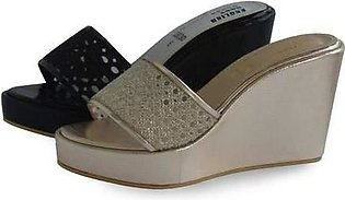 Ladies Fancy\Artificial Leather Slippers Black & Gold
