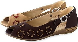 Artificial Leather Ladies Shoes Brown & Faun