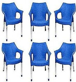 ELON Set Of 6 Rattan Plastic Chair And 1 Plastic Folding Table Blue