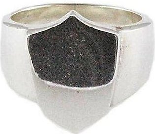 Firepark White Gold Plated Shield Ring - Sterling Silver