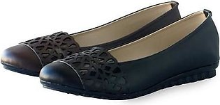 Artificial Leather Ladies Shoes Black & Brown