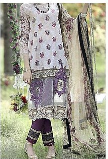 Almirah Natural Lawn Stitched Suit For Women - 3 Piece