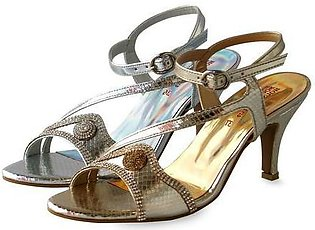 """3"""" Fancy Shine Stone Bedded Ladies Sandals Gold & Silver"""