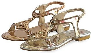 Artificial Leather + Bedded Ladies Sandals Gold & Peach