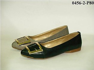 Artificial Leather+Buckle Ladies Shoes Black & Grey