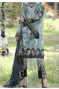 Almirah Turquoise Lawn Stitched Suit For Women - 3 Piece