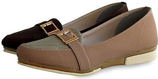 Rubber Sole Ladies Shoes Brown & Grey