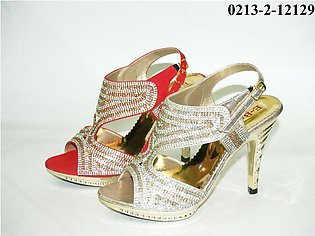 3.5 Inches Stiletto Fancy Bridal Heel Red & Gold